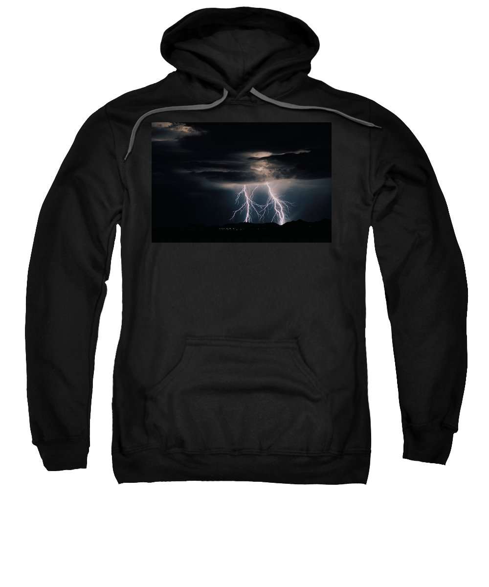 Arizona Sweatshirt featuring the photograph Carefree Lightning by Cathy Franklin