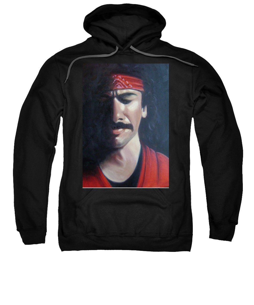 Santana Sweatshirt featuring the painting Carlos Santana by Toni Berry