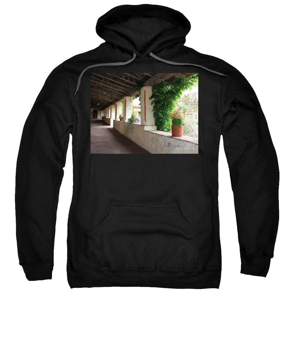 Carmel Mission Walkway Sweatshirt featuring the photograph Carmel Mission Walkway by Carol Groenen
