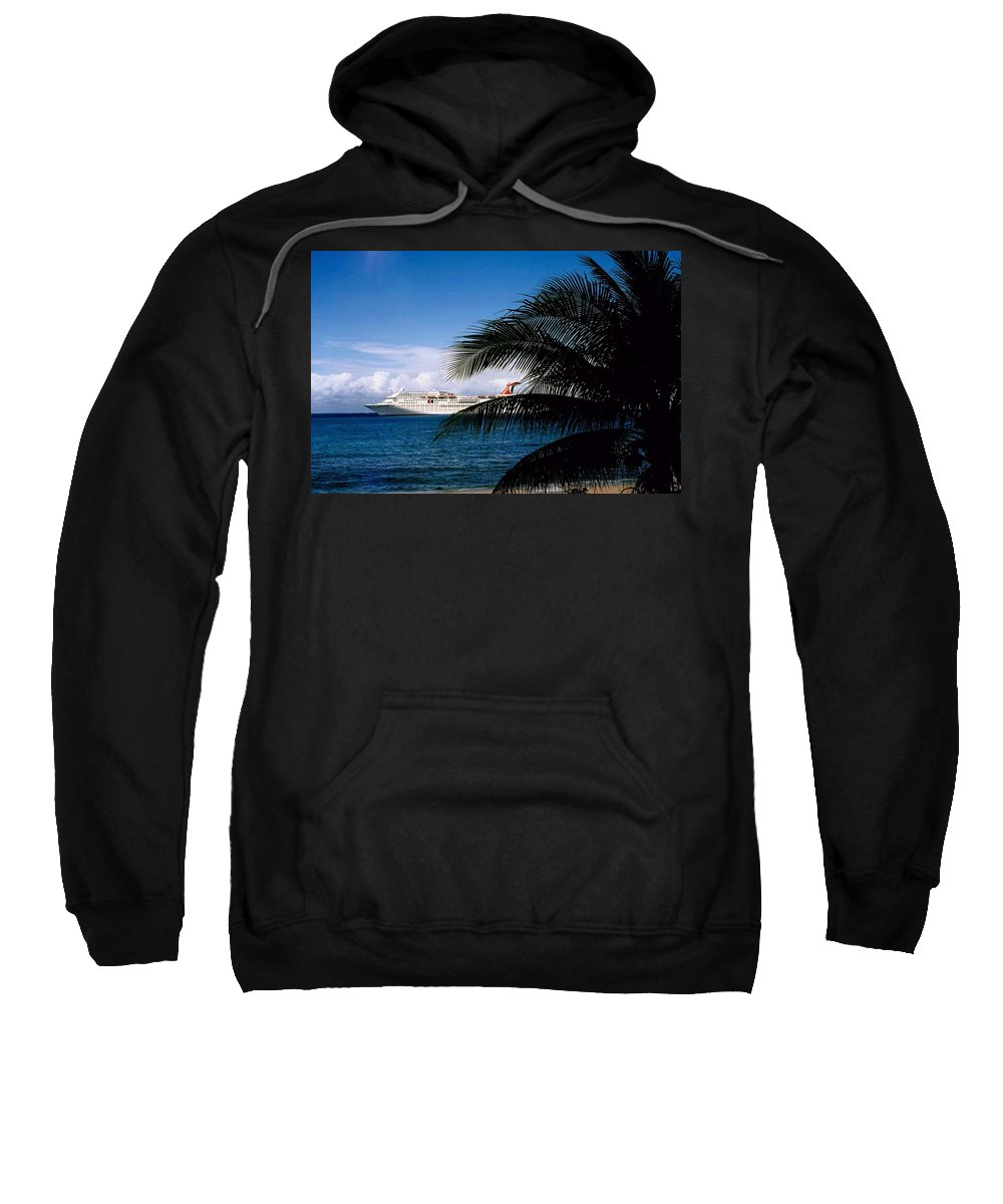 Druise Sweatshirt featuring the photograph Carnival Docked At Grand Cayman by Gary Wonning