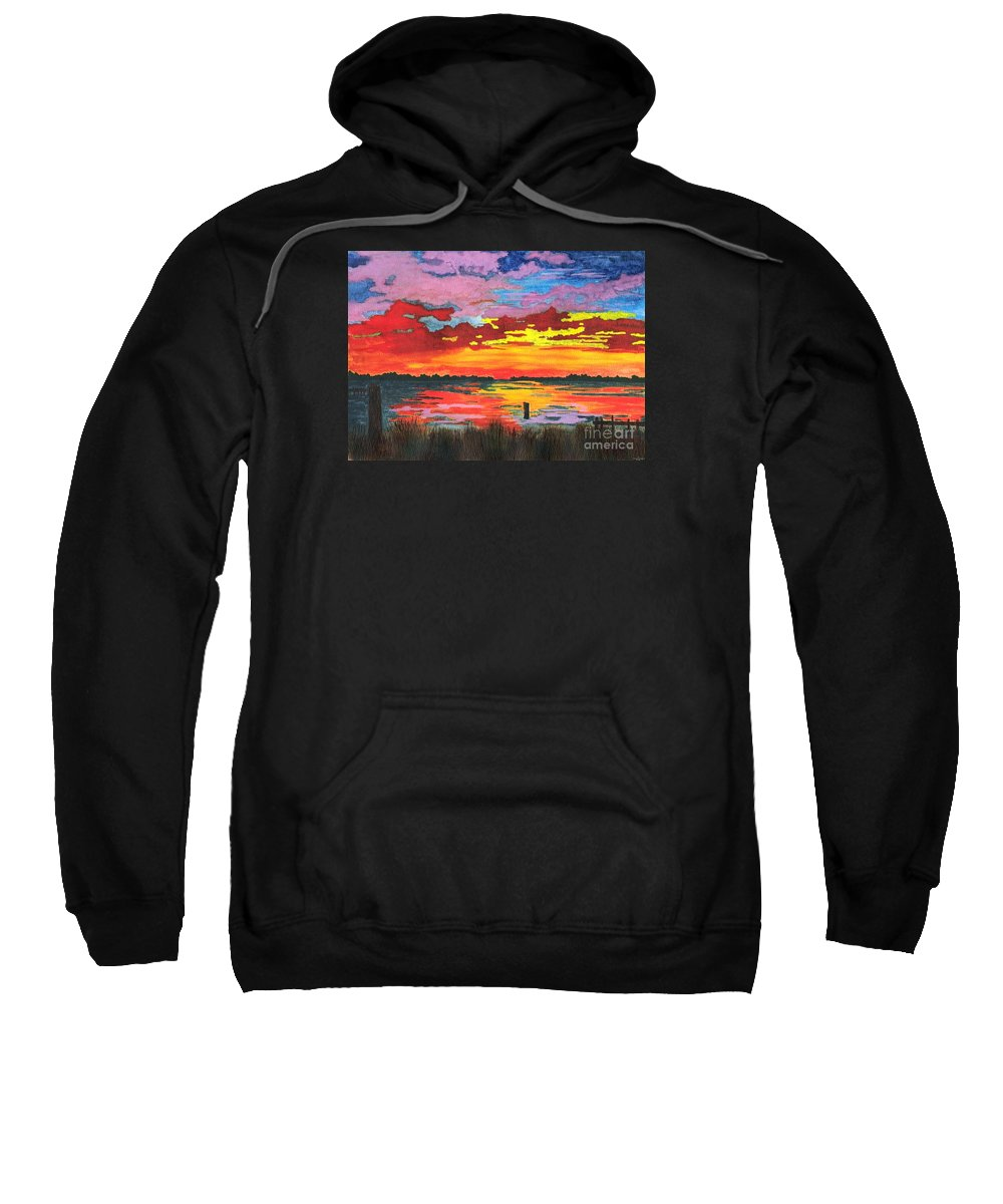 Original Painting Sweatshirt featuring the painting Carolina Sunset by Patricia Griffin Brett
