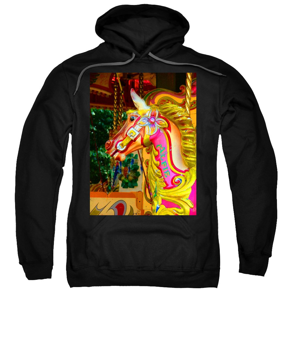 Alfie Sweatshirt featuring the photograph Carousel Horse London Alfie England by Heather Lennox