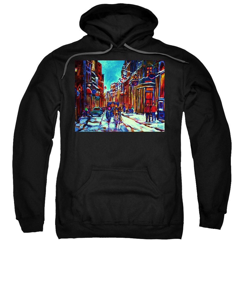 Old Montreal Sweatshirt featuring the painting Carriage Ride Through The Old City by Carole Spandau