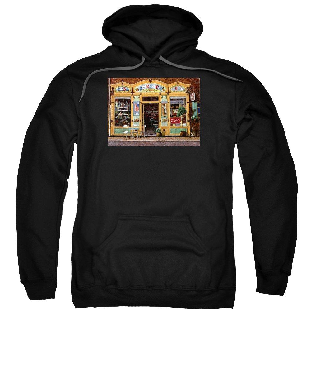 Coffe Shop Sweatshirt featuring the painting Casa America by Guido Borelli