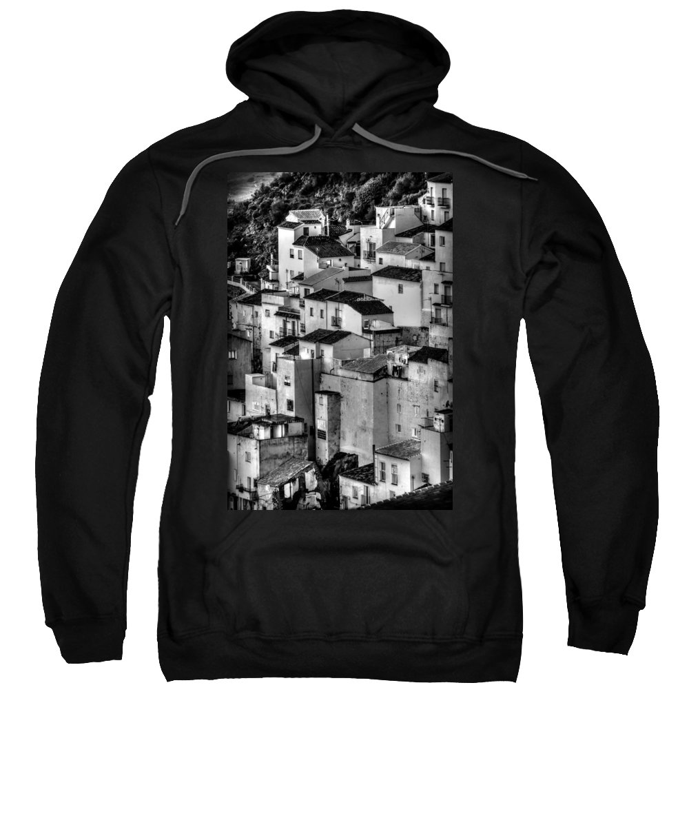 Andalucia Sweatshirt featuring the photograph Casares Pueblo. Black And White by Peter Hayward Photographer