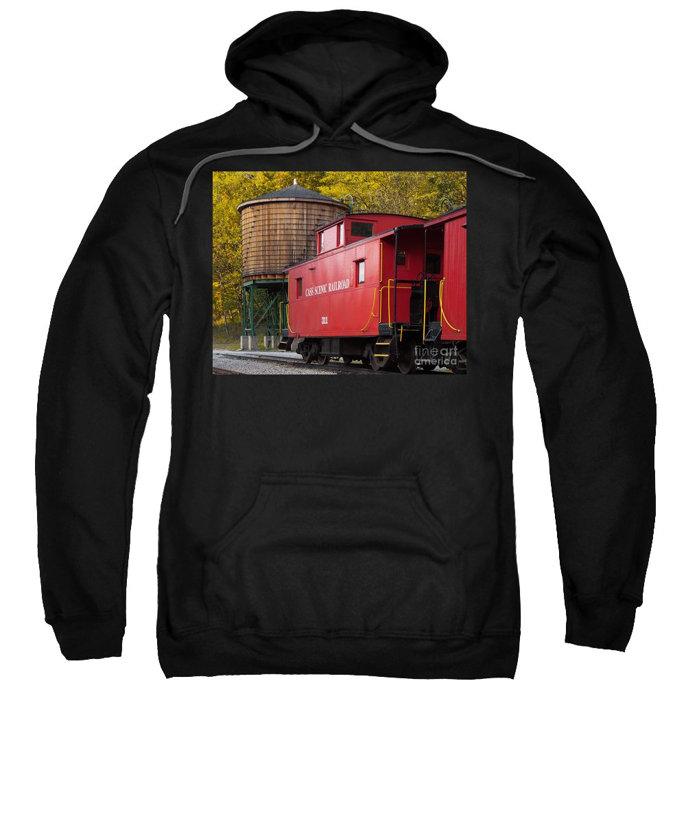 Antiquated Sweatshirt featuring the photograph Cass Railroad Caboose by Jerry Fornarotto