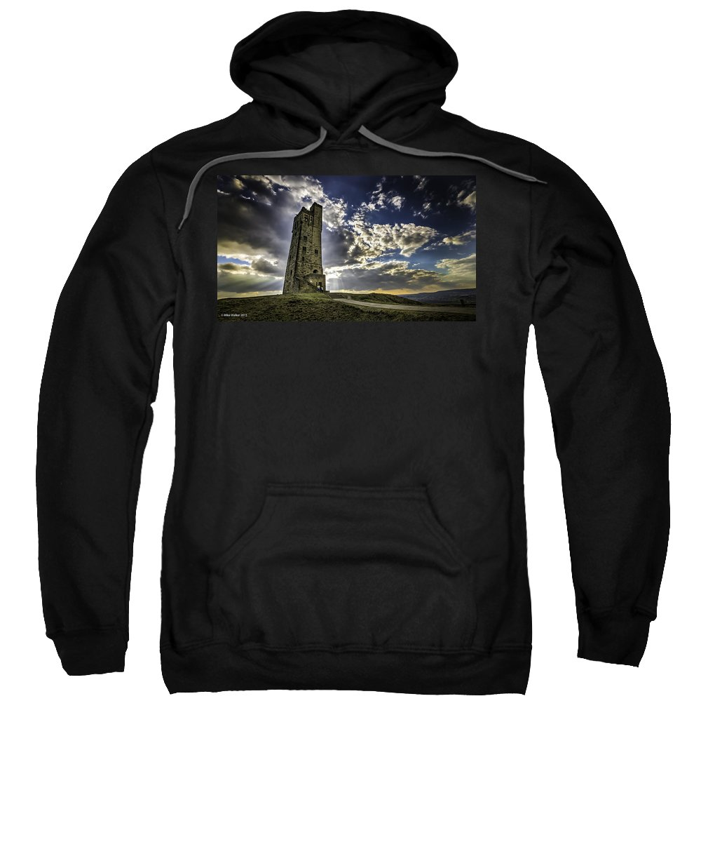 Castle Hill Sweatshirt featuring the photograph Victoria Tower Castle Hill Huddersfield 1 by Mike Walker