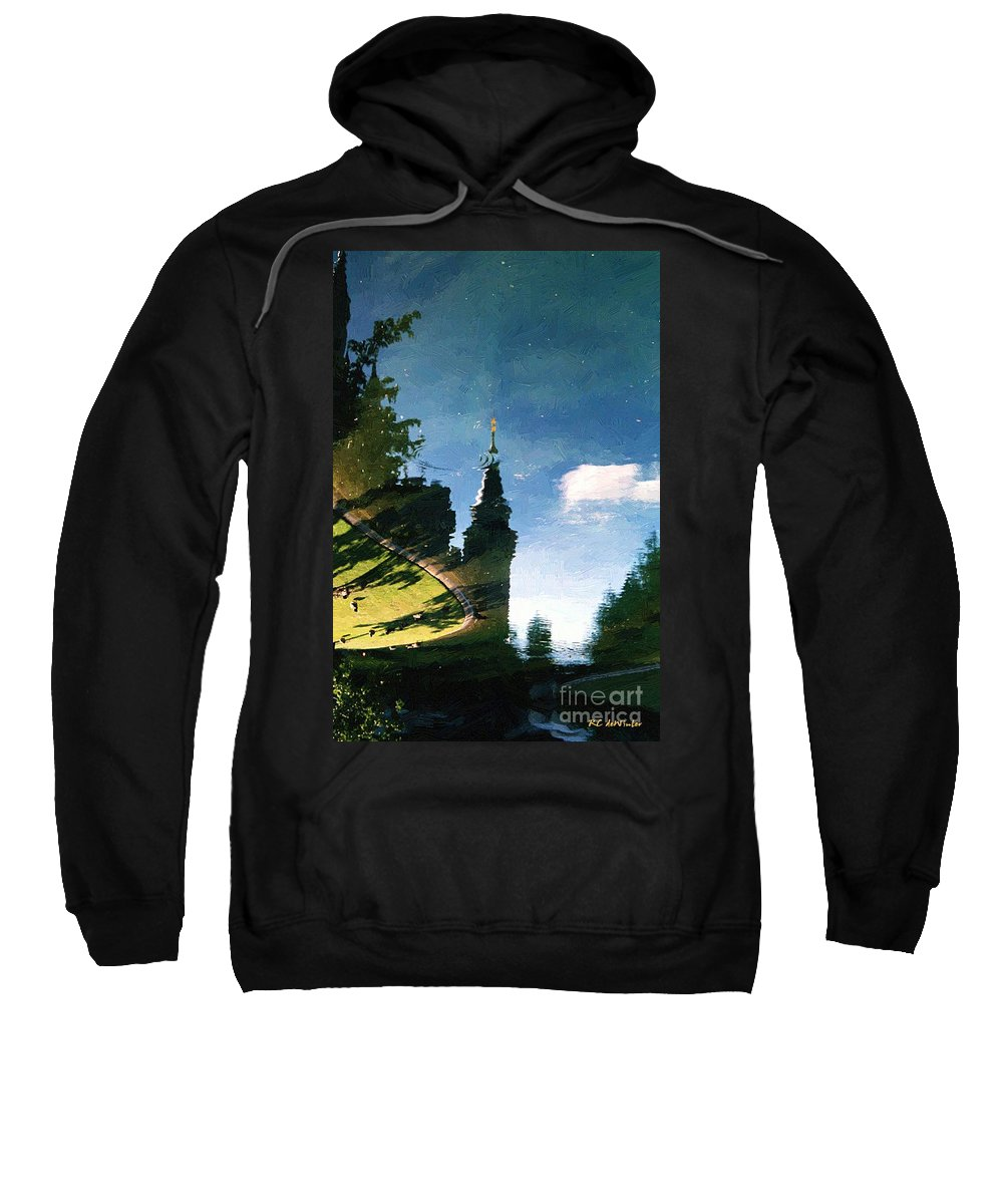 Castle Sweatshirt featuring the painting Castle In The Lake by RC DeWinter
