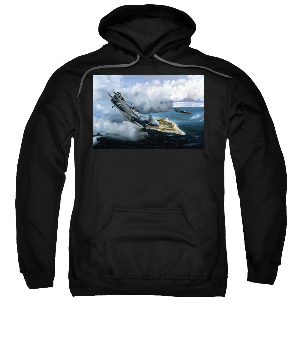 Military Sweatshirt featuring the painting Cat And Mouse Over Wake by Marc Stewart