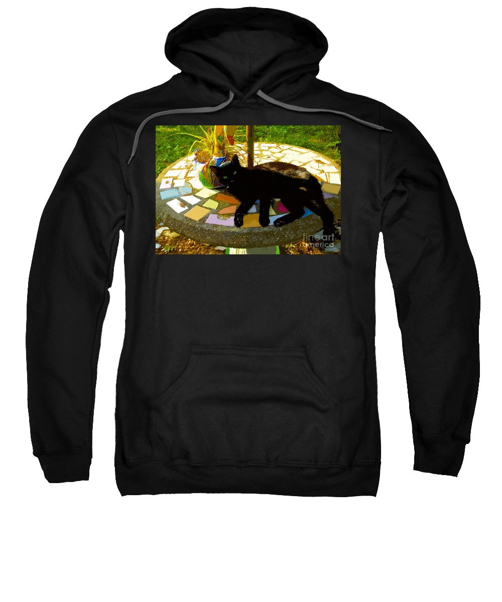 Black Cat Sweatshirt featuring the painting Cat And Table by David Lee Thompson