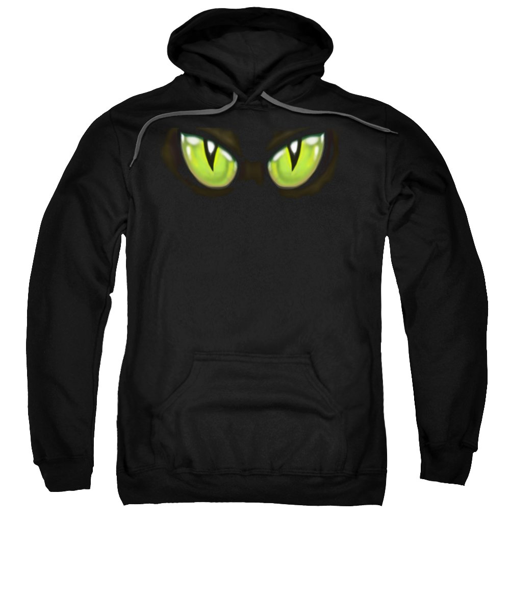 Cat Sweatshirt featuring the painting Cat Eye by Kevin Middleton