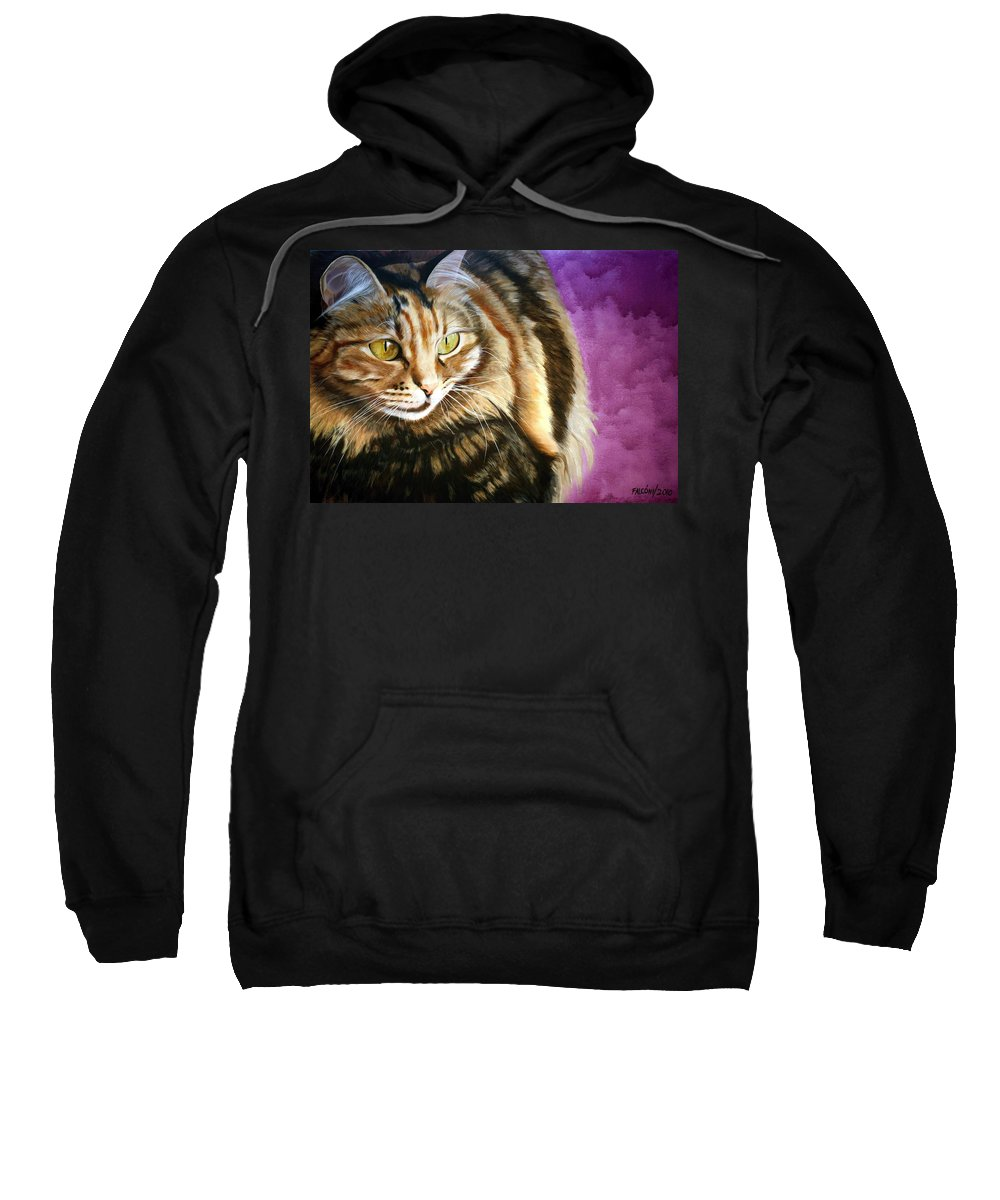 Cat Sweatshirt featuring the painting Cat In Purple Background by Susana Falconi