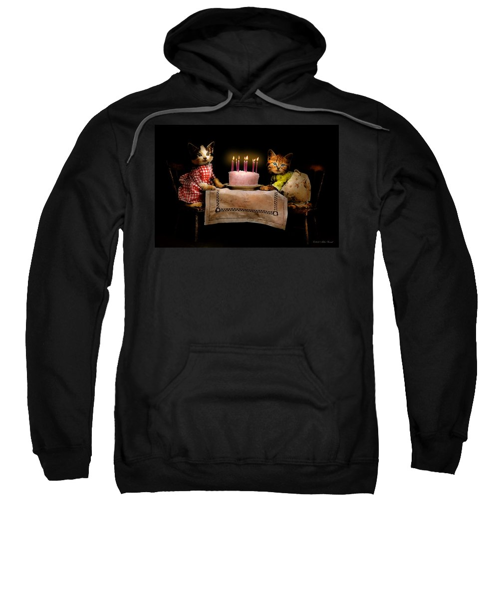 Cat Sweatshirt featuring the photograph Cat - It's Our Birthday - 1914 by Mike Savad