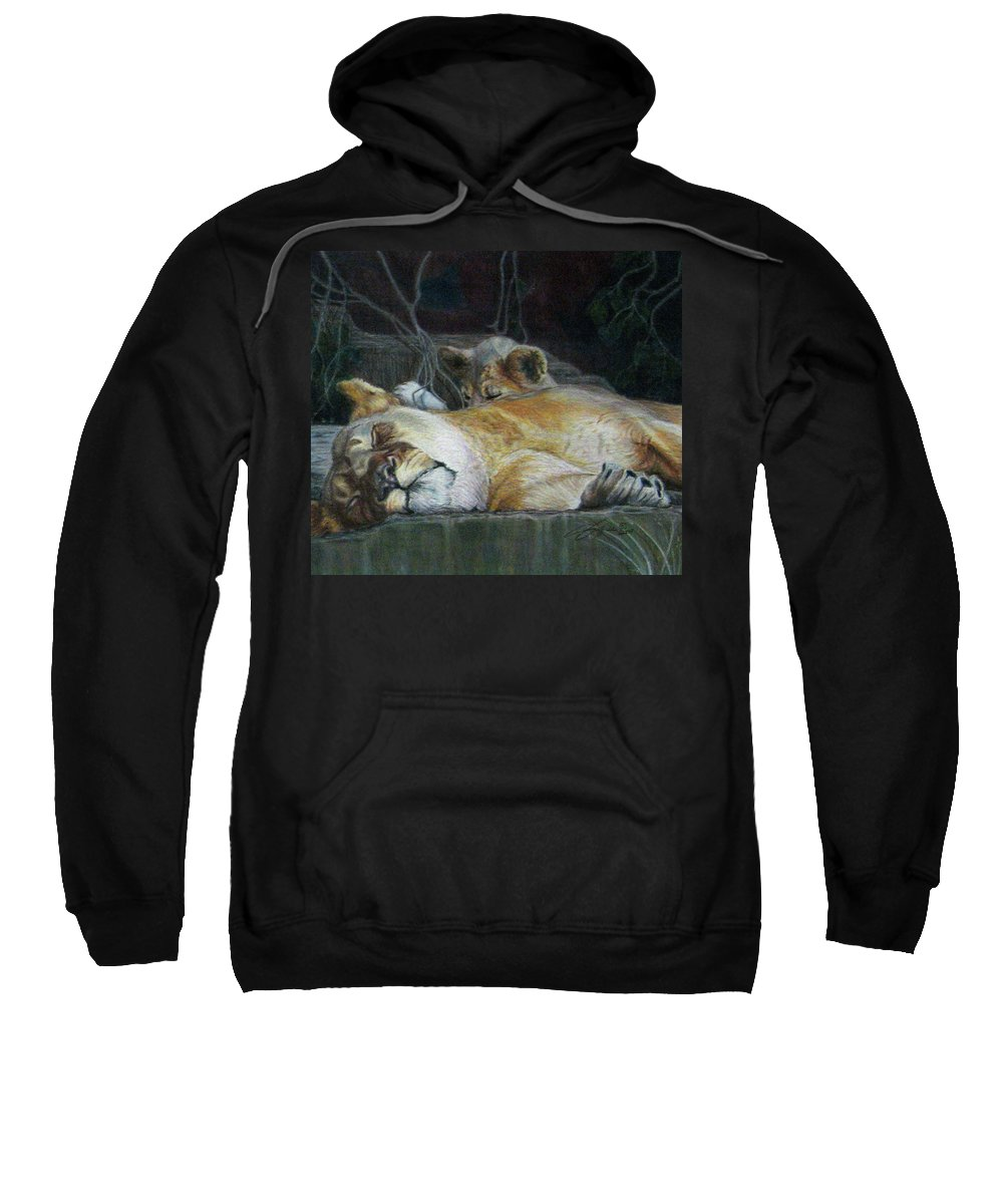 Fuqua - Artwork Sweatshirt featuring the drawing Cat Nap by Beverly Fuqua