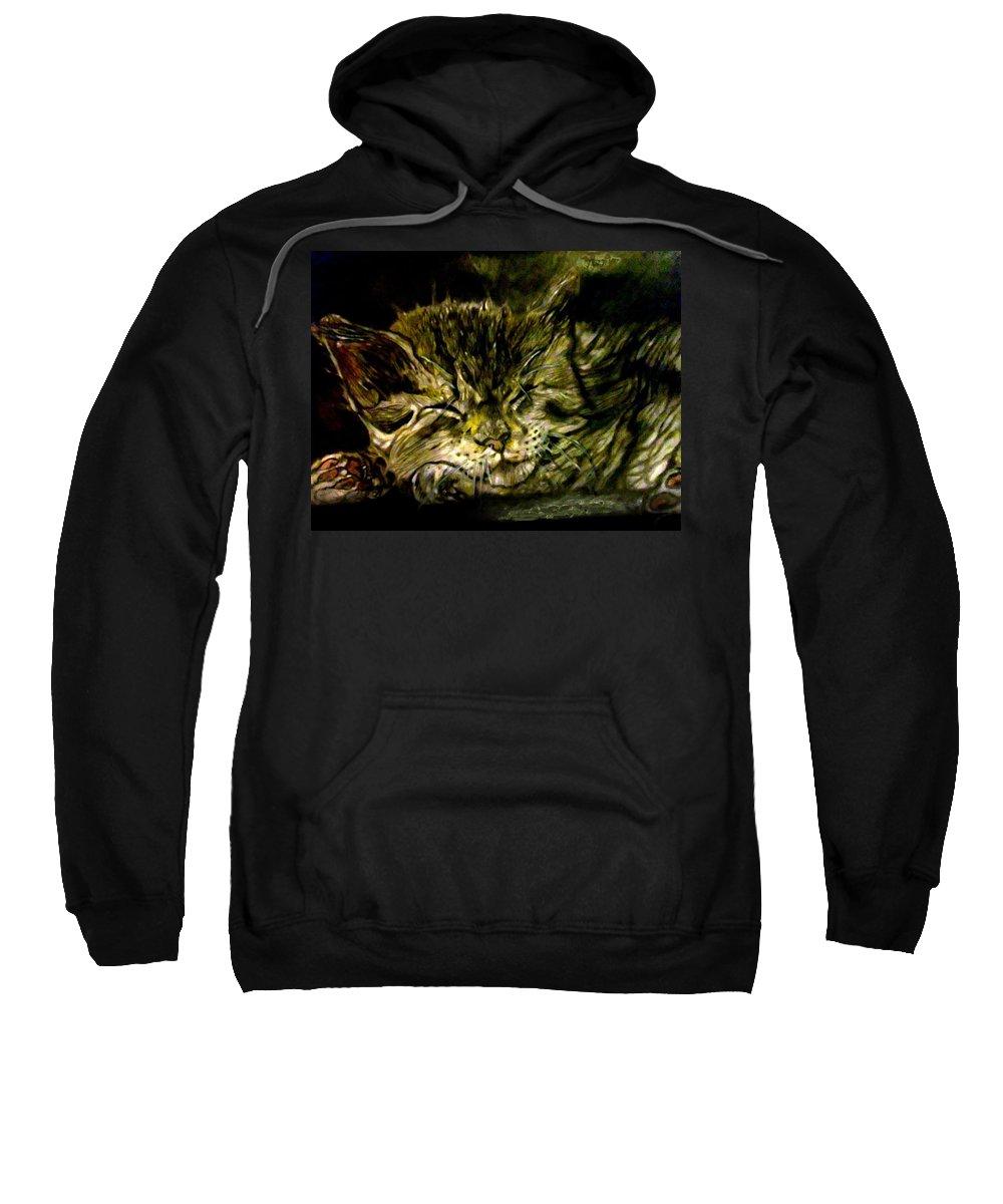 Cat Sweatshirt featuring the drawing Cat Nap by Herbert Renard