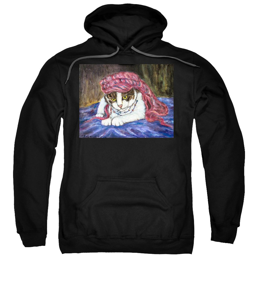 Cat Painting Sweatshirt featuring the painting Tabby Cat With Yellow Eyes by Frances Gillotti