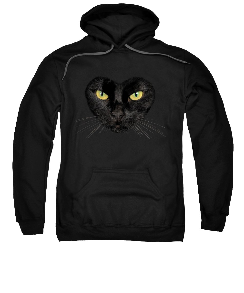 Black Cat Sweatshirt featuring the digital art Cat T-shirt by Dan Lennard