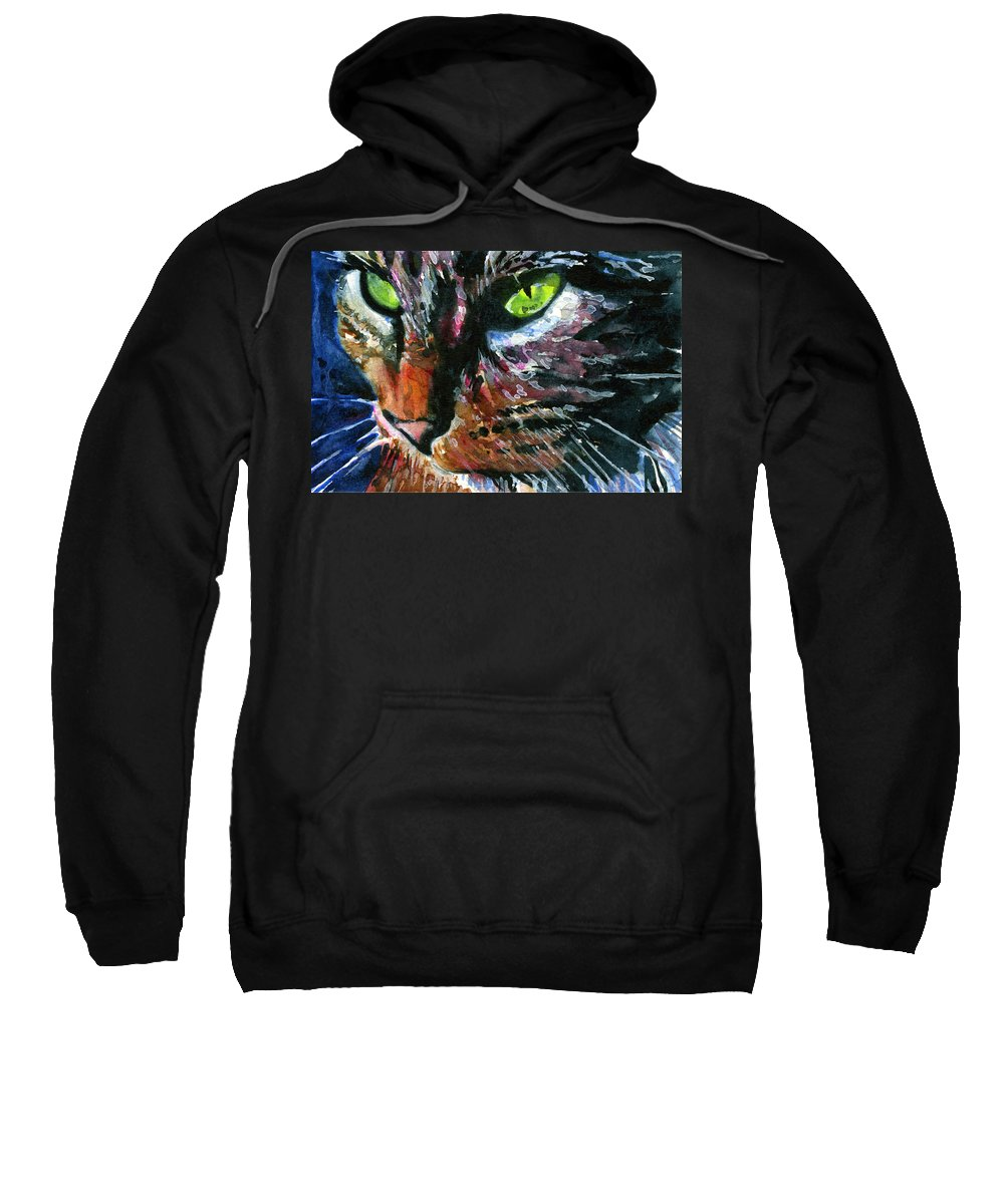 Cats Sweatshirt featuring the painting Cats Eyes 11 by John D Benson
