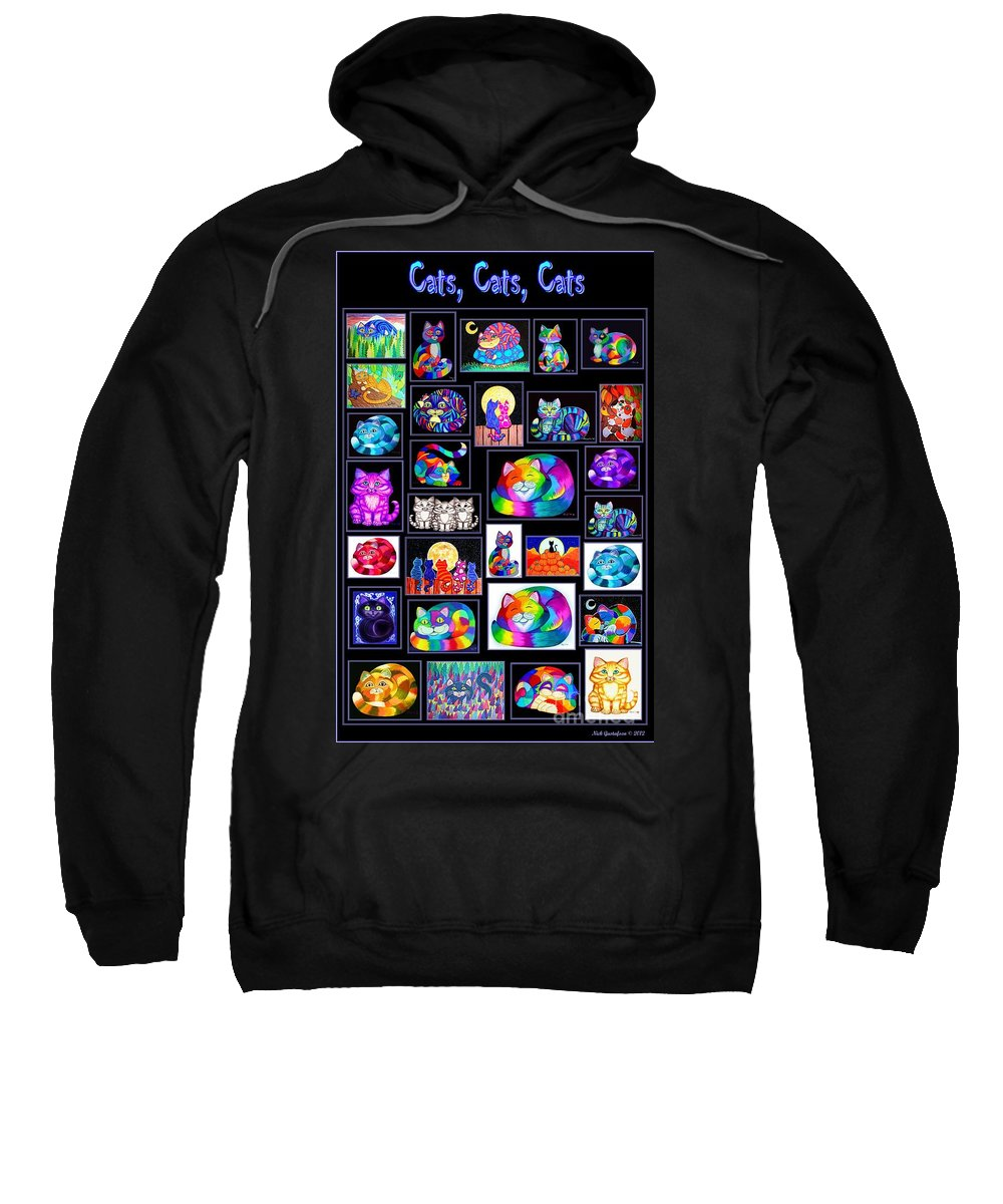Cats Sweatshirt featuring the digital art Catscatscats by Nick Gustafson