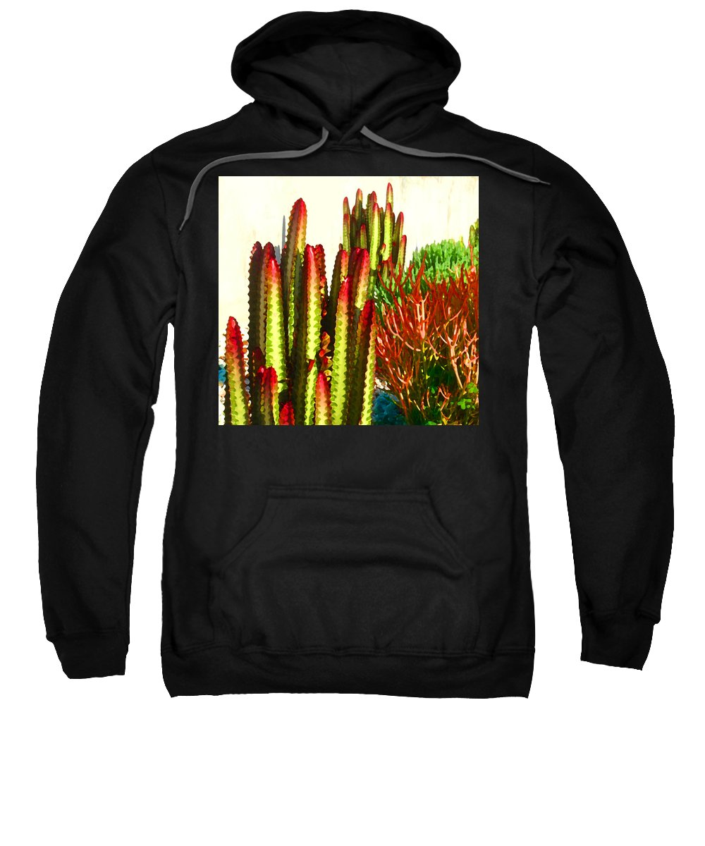 Landscape Sweatshirt featuring the painting Catus Garden by Amy Vangsgard