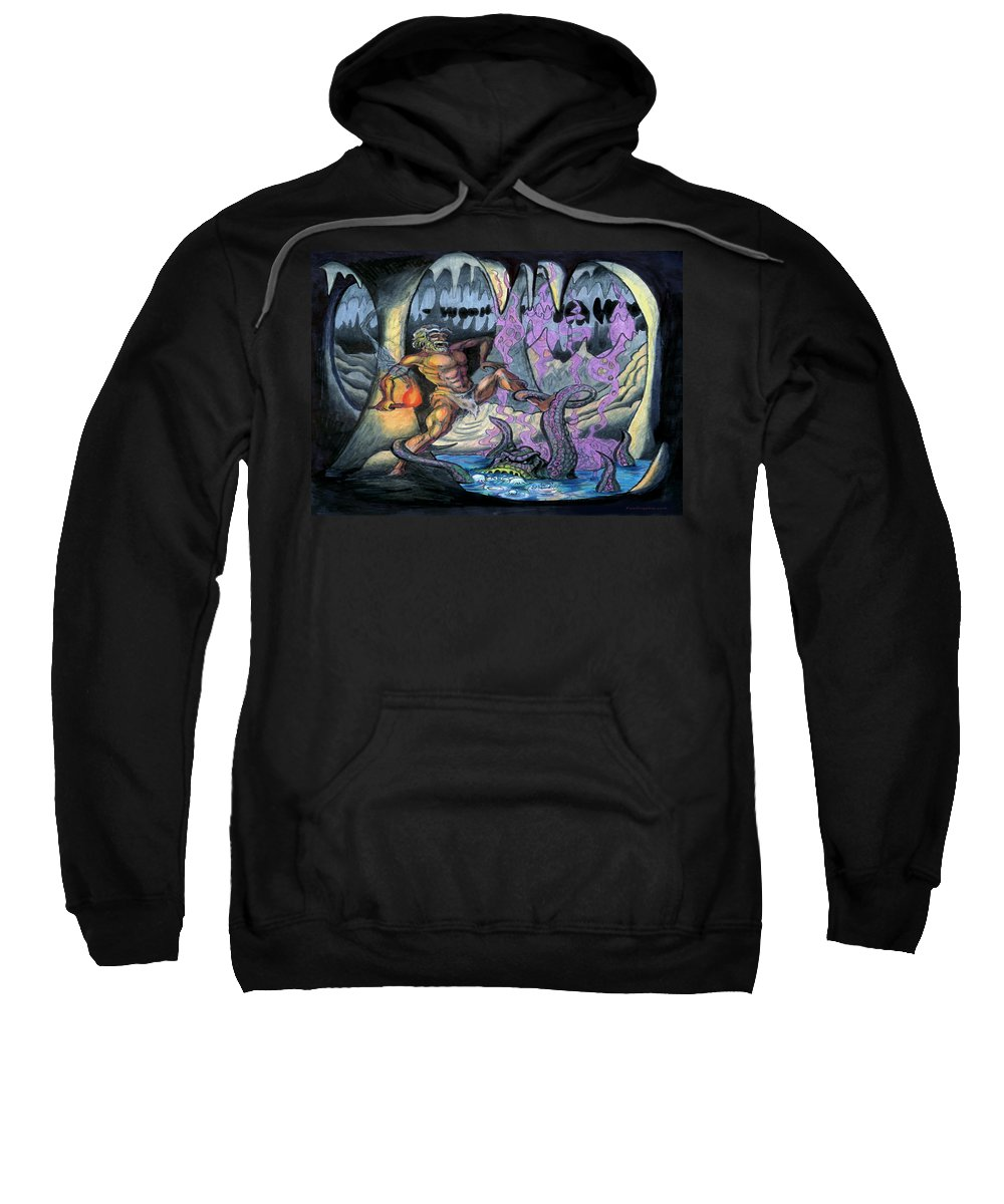 Cave Sweatshirt featuring the painting Cave Creature by Kevin Middleton