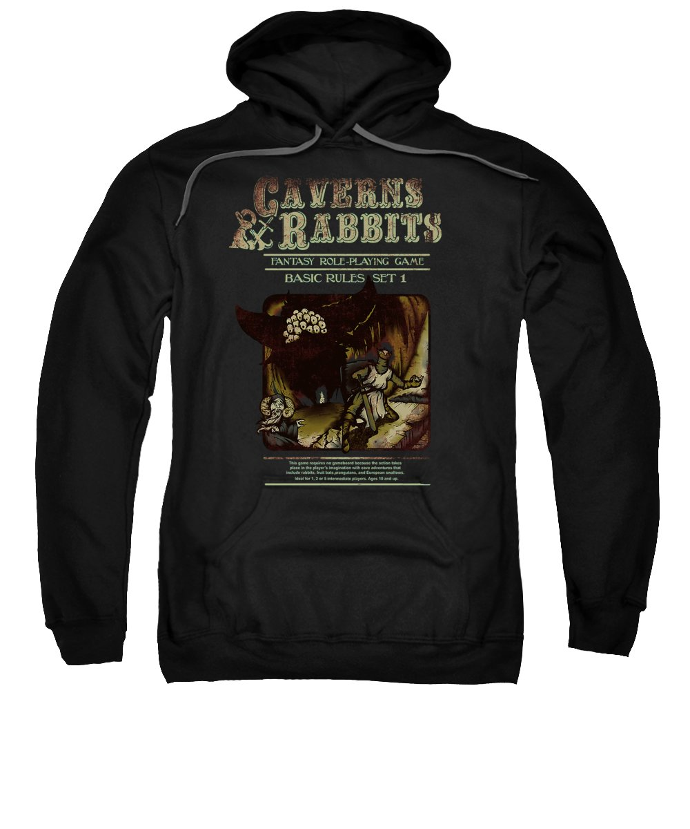 Monty Sweatshirt featuring the digital art Caverns And Rabbits by Poetri Kempit