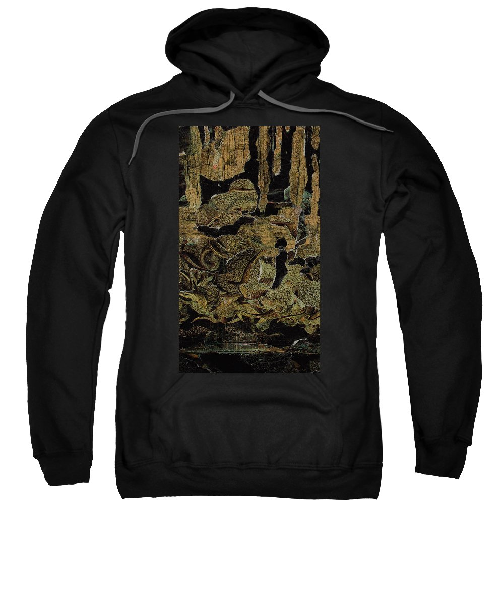 Black Sweatshirt featuring the mixed media Caverns by Cindy Johnston
