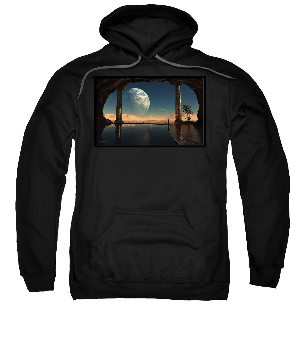Cave Lake Pond Pool Water Column Glass Palm Trees Planet Rings City Mountain Desert Hot Cool Contemplation Isolated Alone Sky Sweatshirt featuring the digital art Caves Of Tau Ceti by Artur Rosa