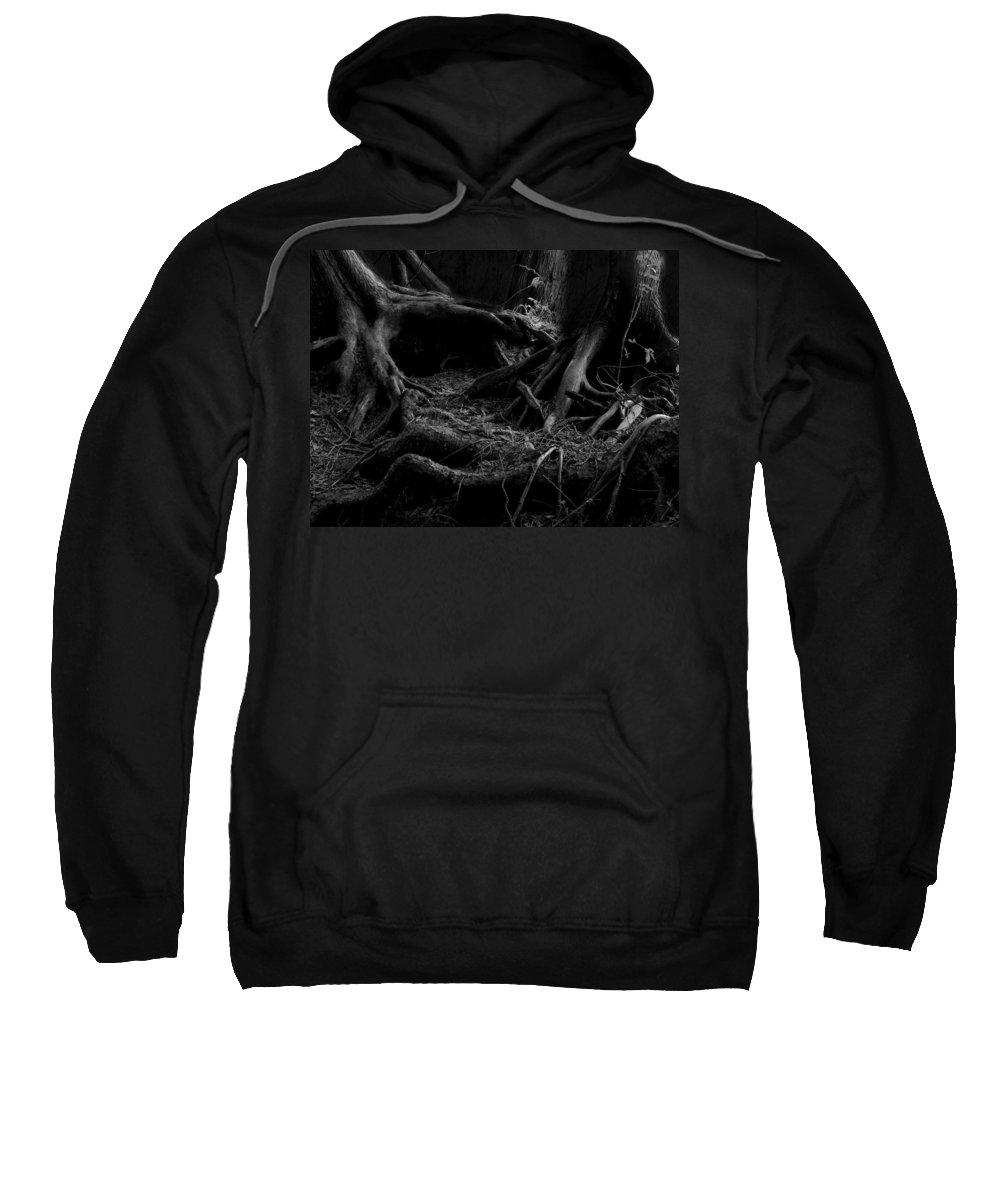 Cedar Sweatshirt featuring the photograph Cedar Roots Black And White by Tim Beebe