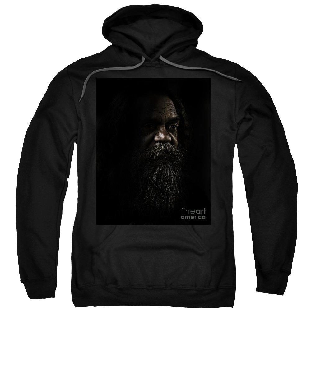 Fullblood Aborigine Sweatshirt featuring the photograph Cedric In Shadows by Sheila Smart Fine Art Photography