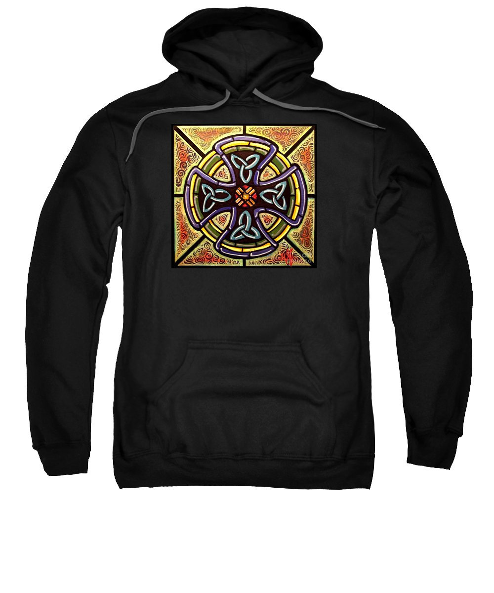 Celtic Sweatshirt featuring the painting Celtic Cross 2 by Jim Harris