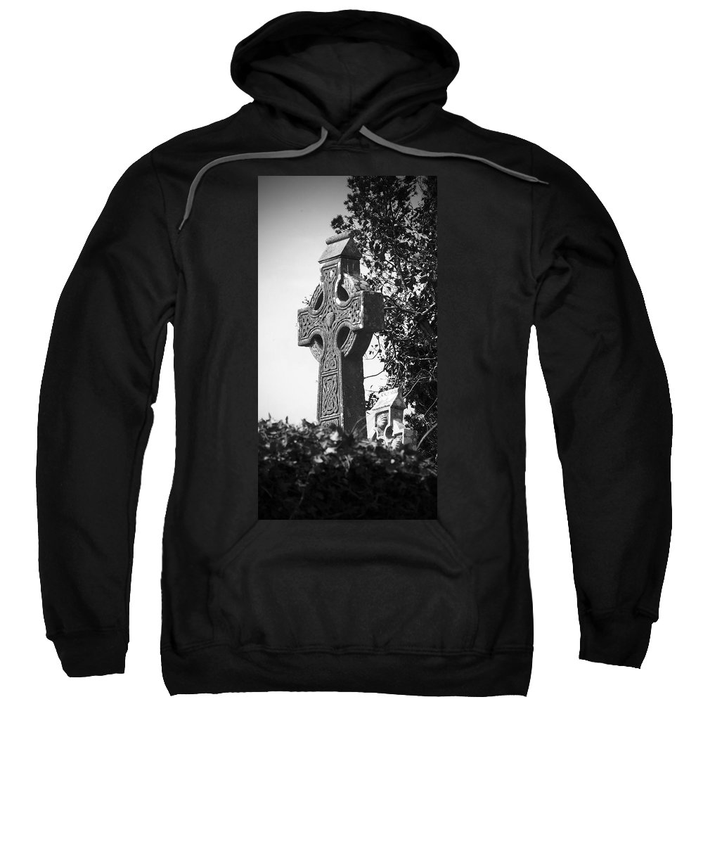 Celtic Sweatshirt featuring the photograph Celtic Cross At Fuerty Cemetery Roscommon Ireland by Teresa Mucha