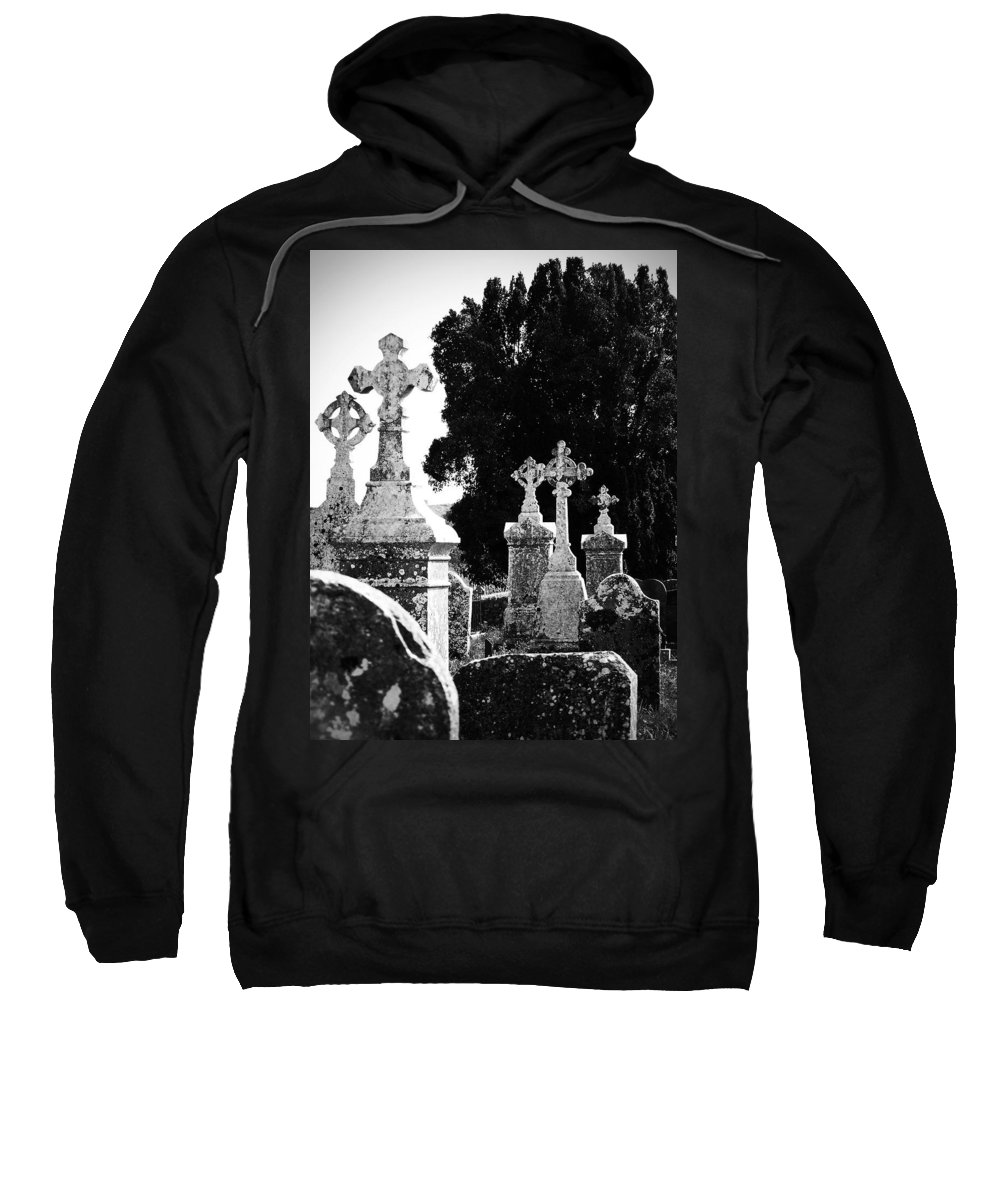 Celtic Sweatshirt featuring the photograph Celtic Crosses At Fuerty Cemetery Roscommon Ireland by Teresa Mucha
