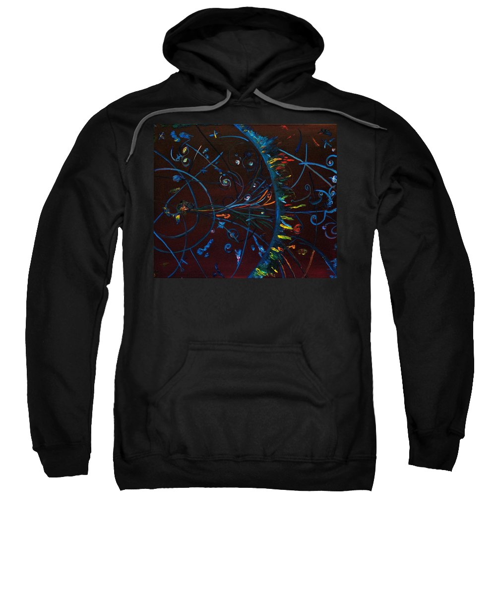 Cern Sweatshirt featuring the painting Cern Atomic Collision Physics And Colliding Particles by Gregory Allen Page