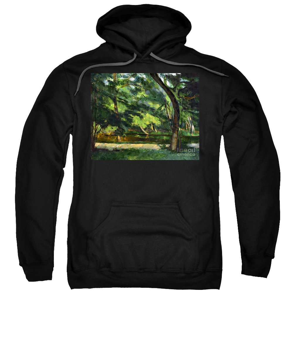 1877 Sweatshirt featuring the photograph Cezanne: Etang, 1877 by Granger