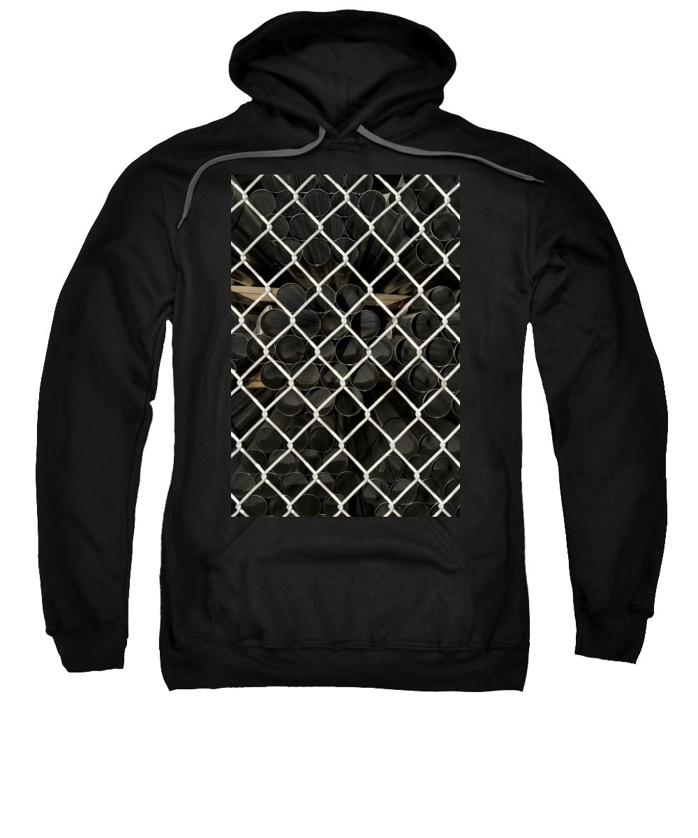 Fence Sweatshirt featuring the photograph Chain Link Pipe by Sara Stevenson
