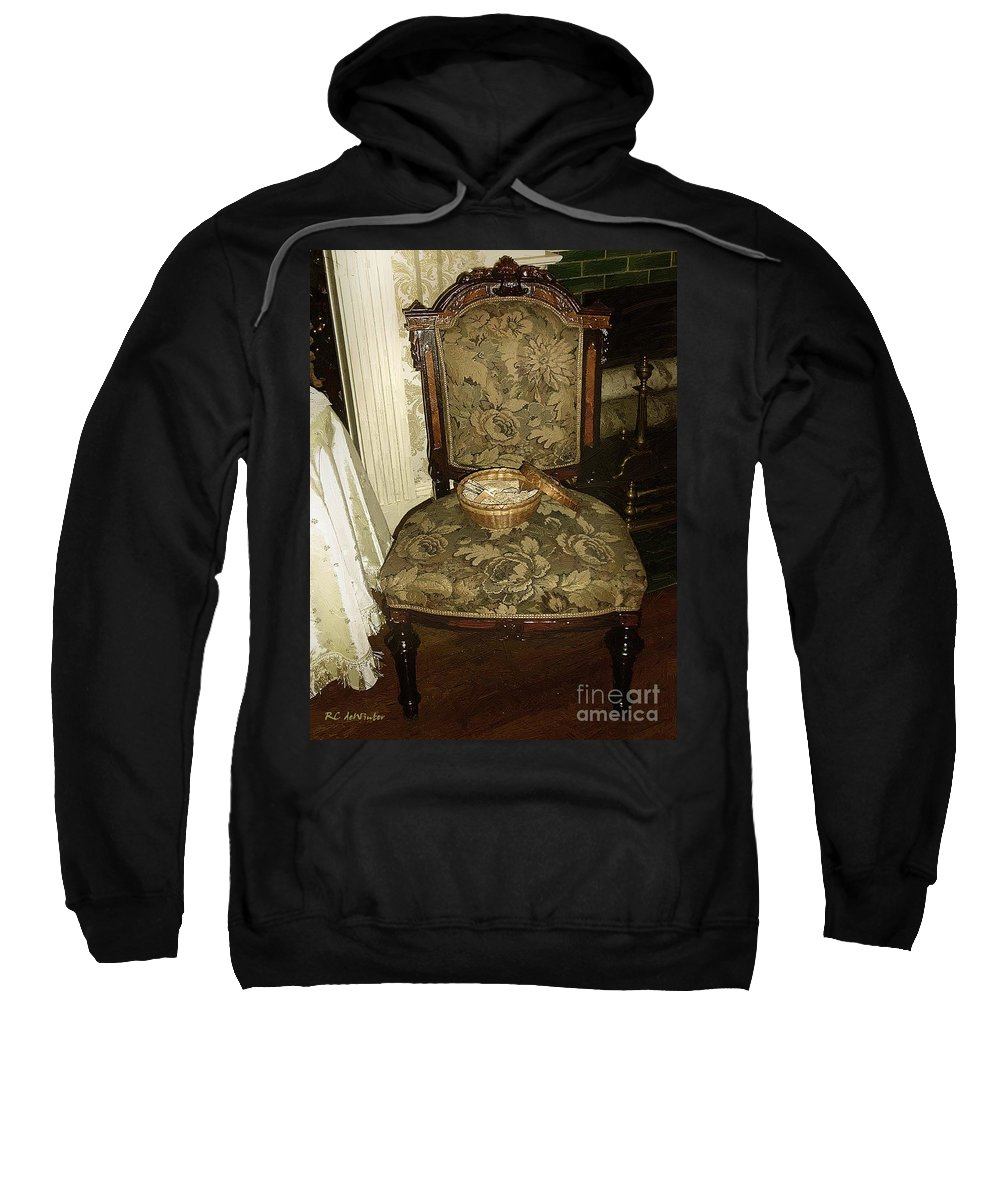 Antiques Sweatshirt featuring the painting Chair By The Hearth by RC DeWinter