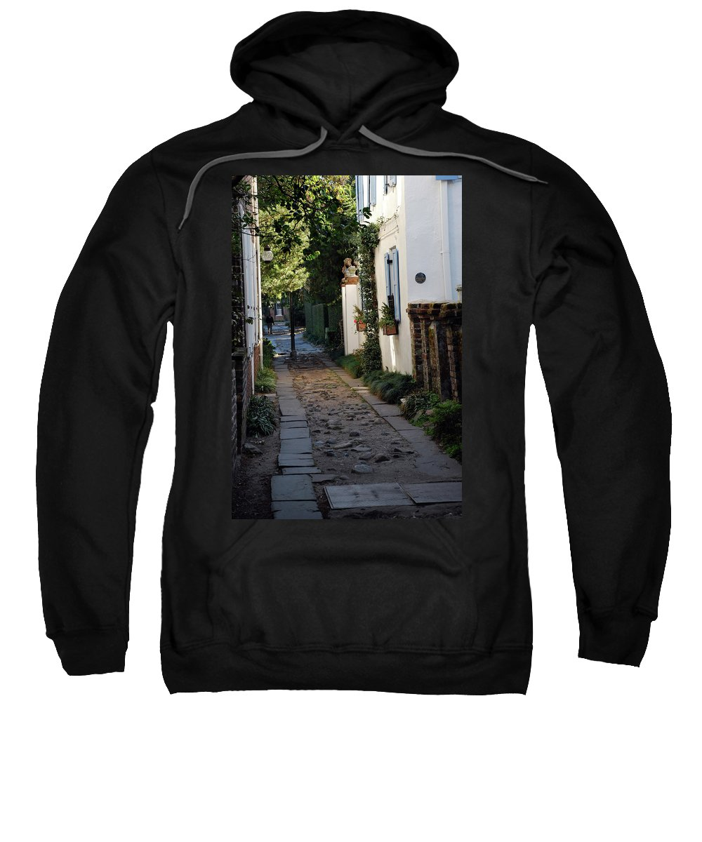 Southcarolina Sweatshirt featuring the photograph Charleston Alley 1 by Skip Willits