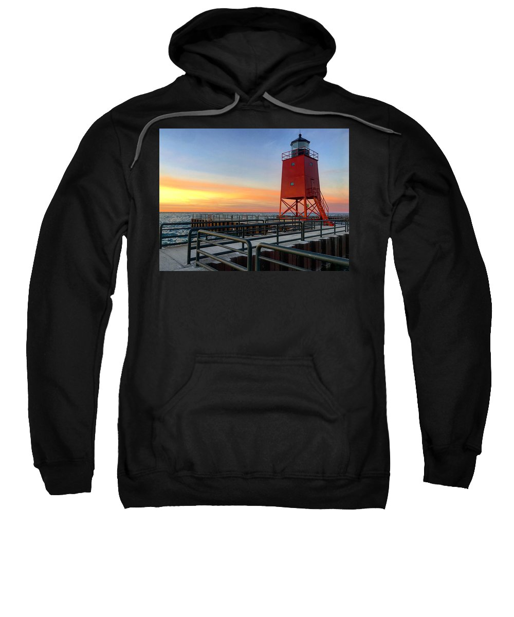 Charlevoix Sweatshirt featuring the photograph Charlevoix South Pier Lightstation by Megan Noble