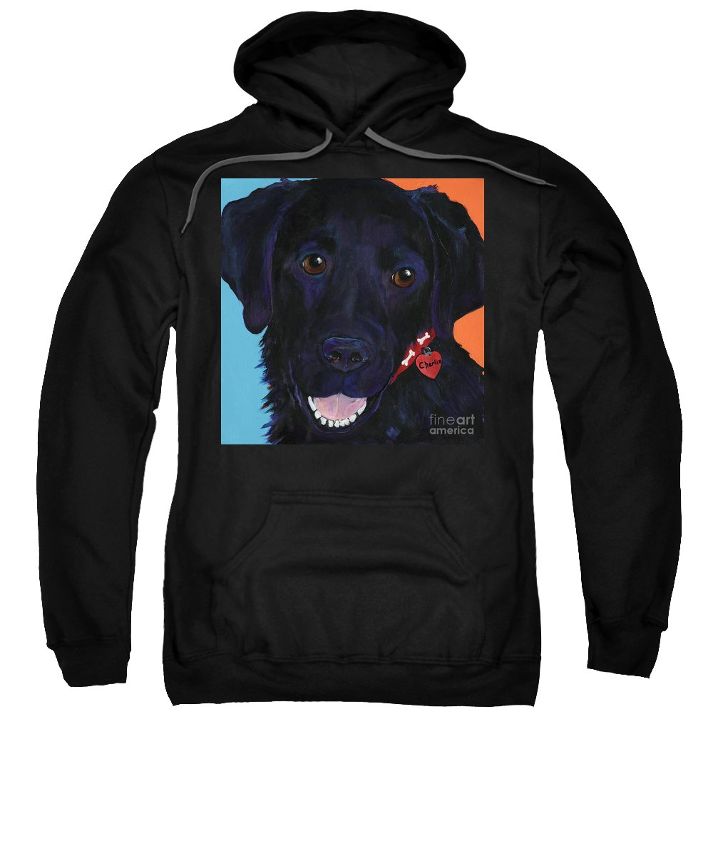 Dog Art Sweatshirt featuring the painting Charlie by Pat Saunders-White