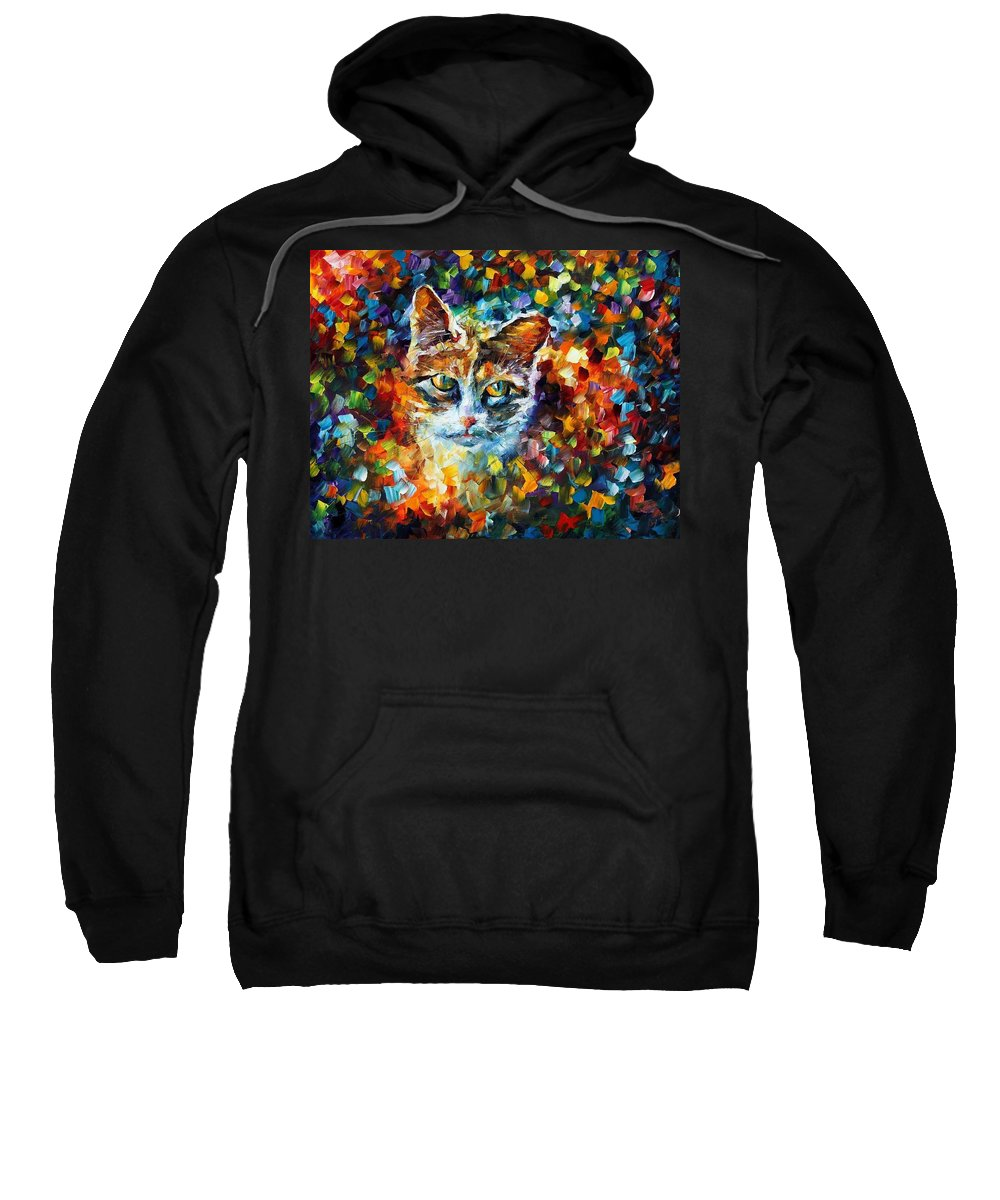 Afremov Sweatshirt featuring the painting Charming by Leonid Afremov