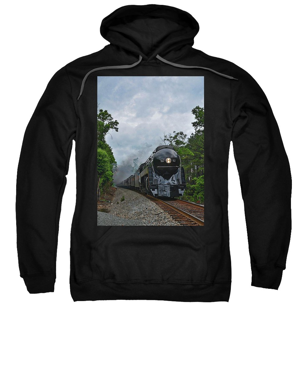 Steam Train Sweatshirt featuring the photograph Chasing The 611 by Terri McLellan