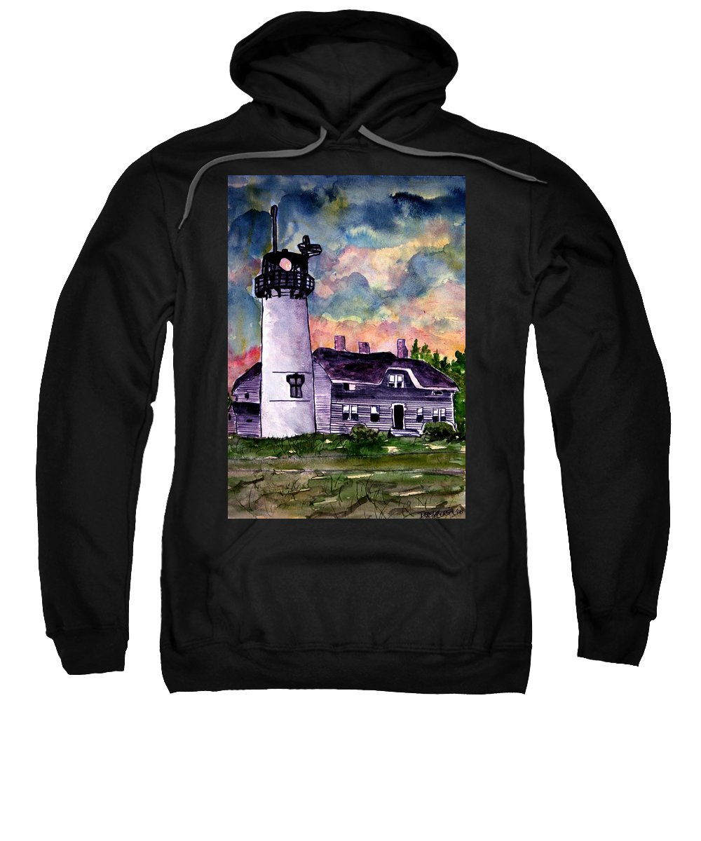 Lighthouse Sweatshirt featuring the painting Chatham Lighthouse Martha's Vineyard Massachuestts Cape Cod Art by Derek Mccrea