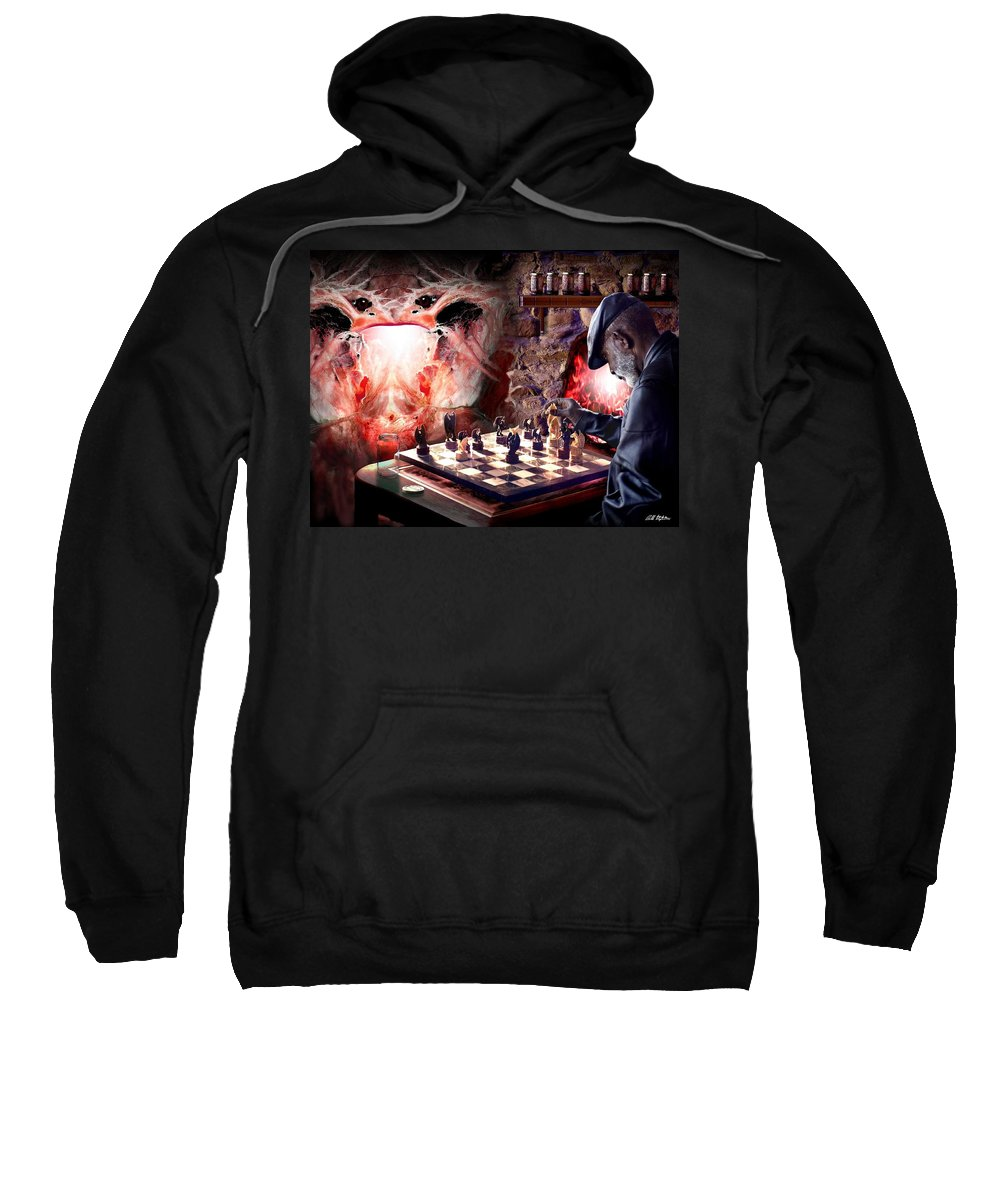 Satan Sweatshirt featuring the digital art Checkmate by Bill Stephens