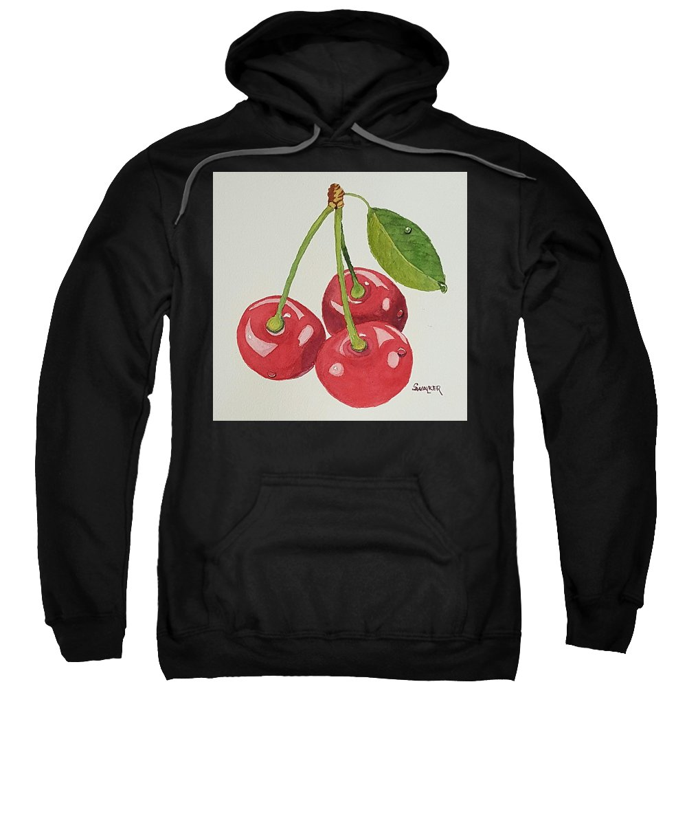 Cherry Sweatshirt featuring the painting Cherry Times Three by Sheila Walker