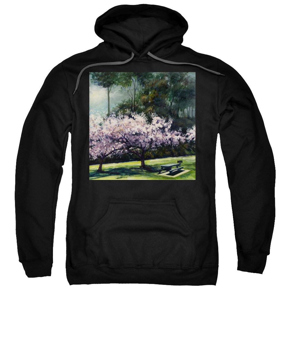 Trees Sweatshirt featuring the painting Cherry Blossoms by Rick Nederlof