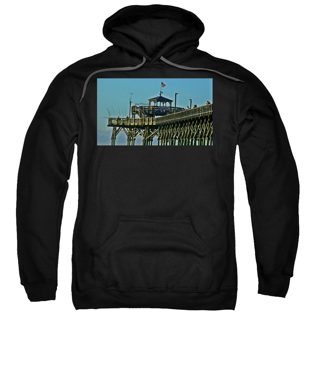 Cherry Grove Sweatshirt featuring the photograph Cherry Grove Pier - Closeup End Of Pier by Joey OConnor