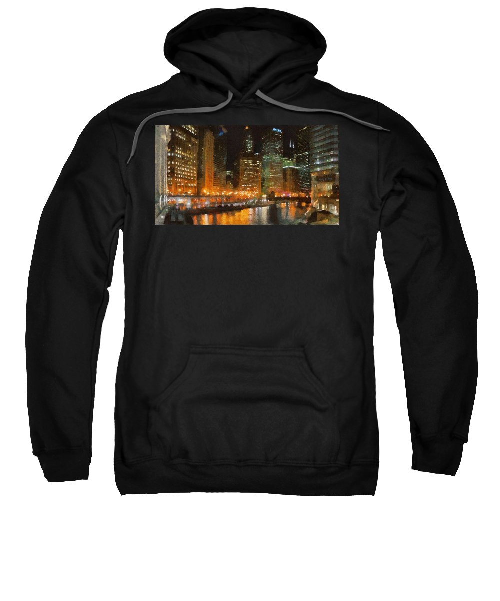 Chicago Sweatshirt featuring the painting Chicago At Night by Jeffrey Kolker