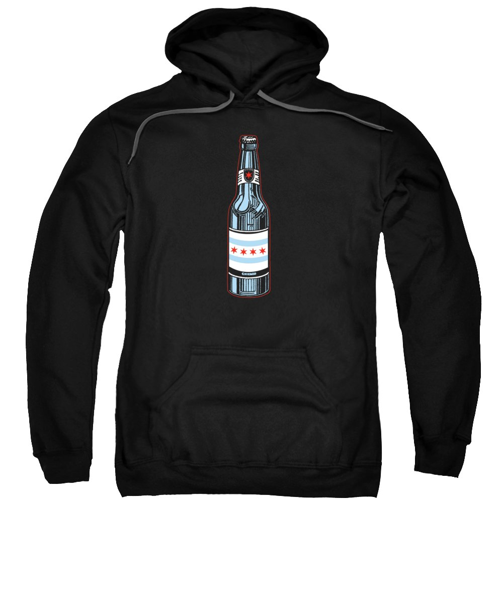 Chicago Sweatshirt featuring the digital art Chicago Beer by Mike Lopez