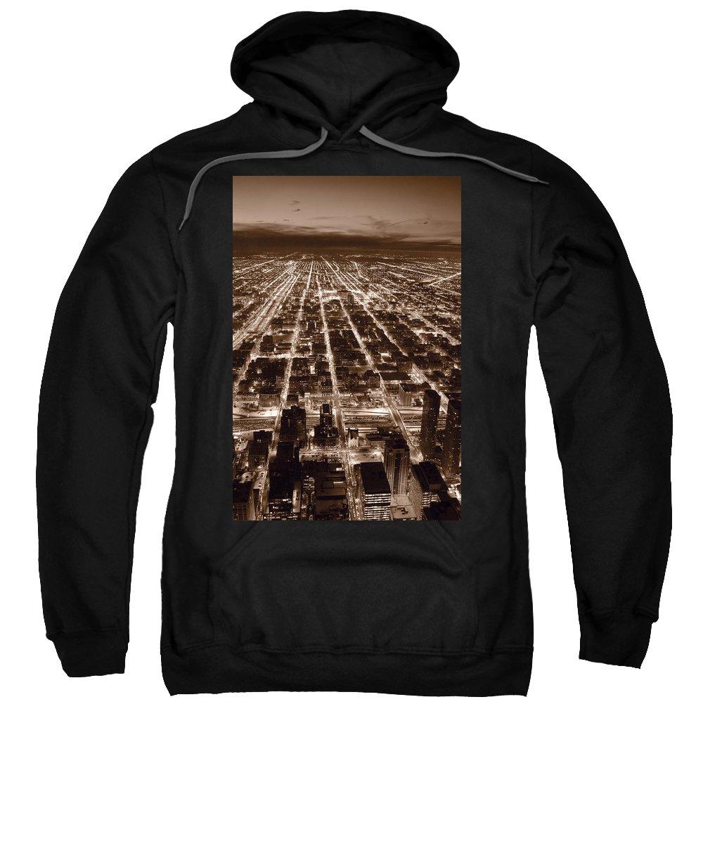 Aerial Sweatshirt featuring the photograph Chicago City Lights West B W by Steve Gadomski